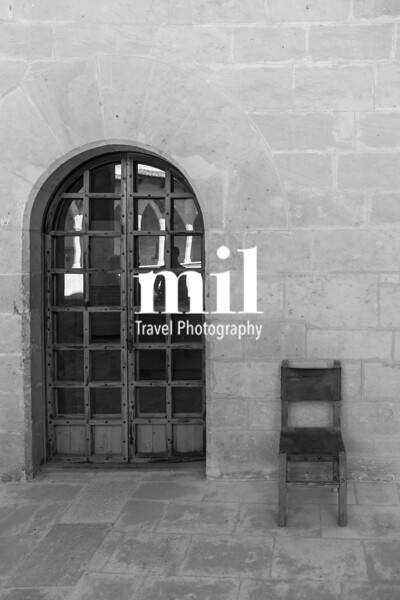Ancient Monastery scene Old Chair and Door in black and white