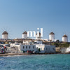 Windmills in Mykonos in Greece