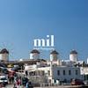 Windmills in Mykonos in Greece