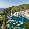 Portofino in Italy taken from the top of the opposite hill