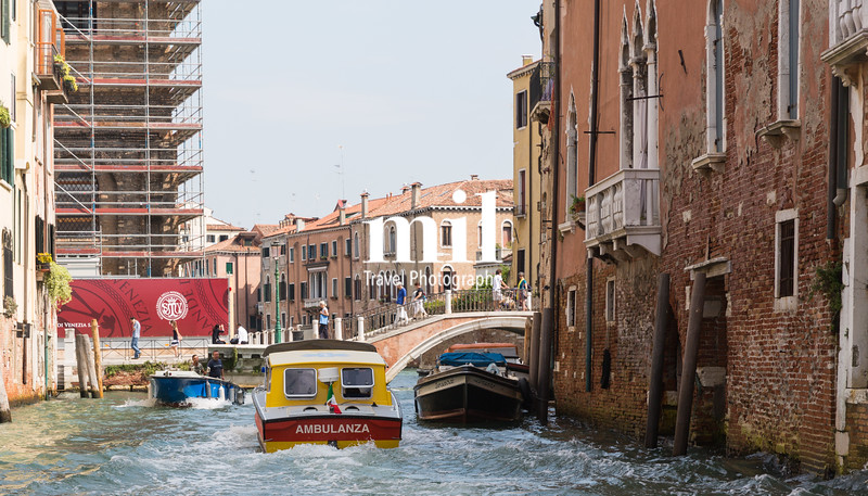 An Ambulance boat on  the Grand Canal in Venice