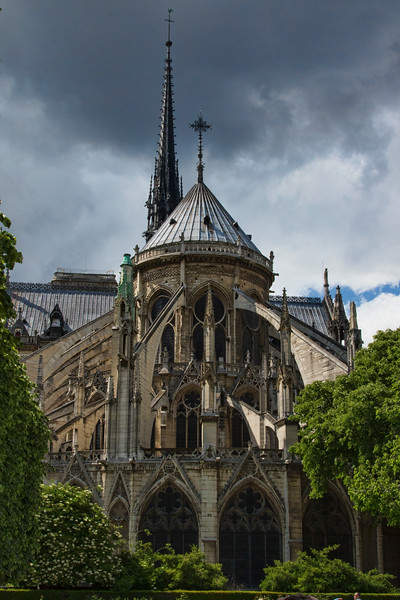 Notre-Dame de Paris is a medieval Catholic cathedral on the Île de la Cité in the 4e Arrondissement of Paris, France.  May 2017