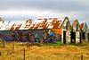 Mural on old barn, north of Akranes, Iceland. October 2013
