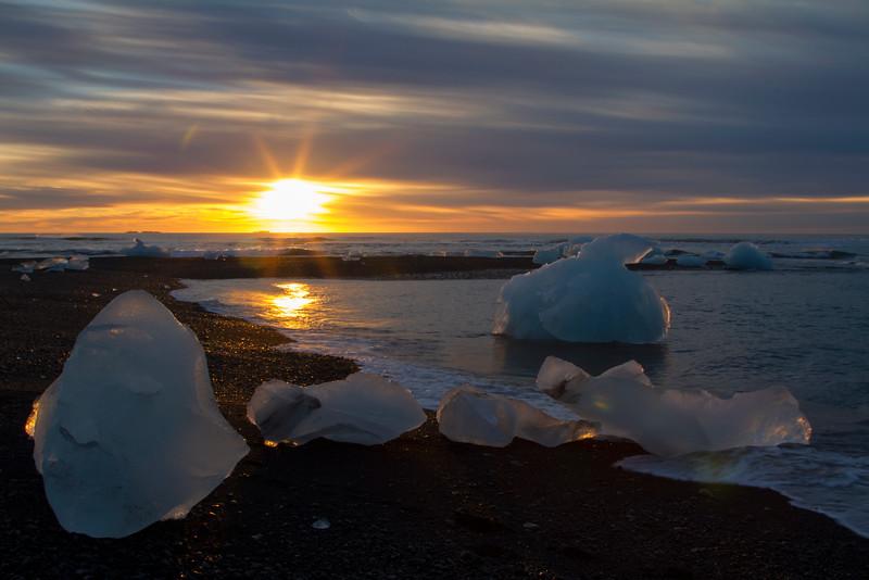Sunrise, Diamond Beach, Jökulsárlón Glacier Lagoon, south Iceland.  October 2015