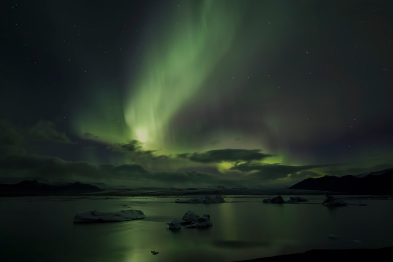 Aurora borealis, Jökulsárlón Glacier Lagoon, south Iceland.  October 2015