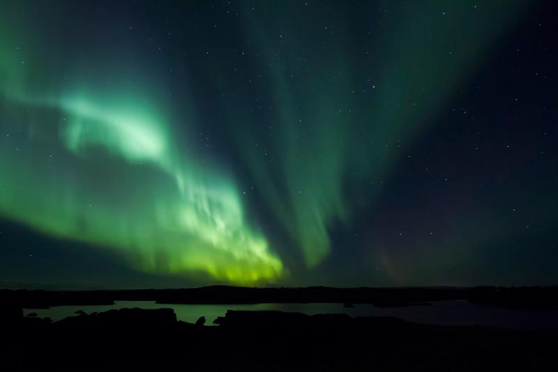Aurora borealis, Lake Mývatn, Iceland.  October 2015