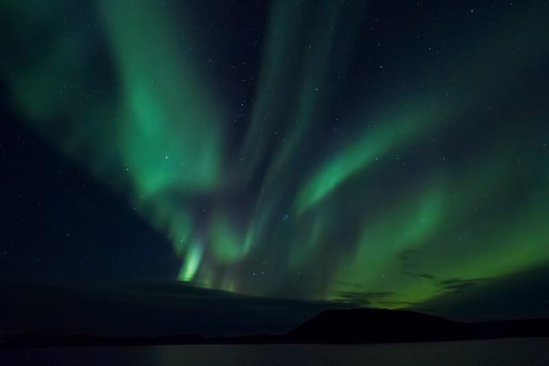 Aurora borealis, Lake Mývatn area, Iceland.  October 2015