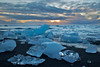 Sunrise, Diamond Beach, Jökulsárlón Glacier Lagoon, south Iceland.  October 2015