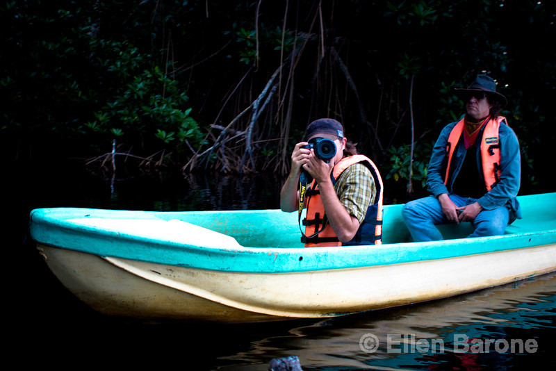 Mangrove boat tour at Madresal, a community-built eco-friendly beach camp Pacific Coast, Chiapas, Mexico.