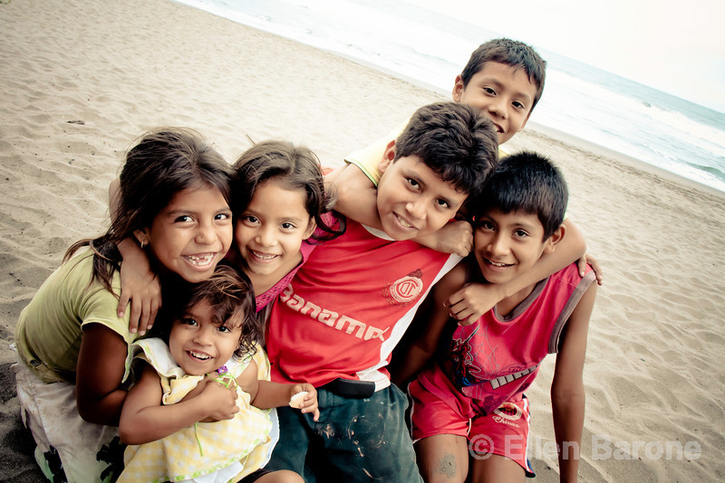 Local kids ham it up for the camera at Madresal an eco-friendly beach camp and nature reserve along the Pacific Coast of Chiapas, Mexico.