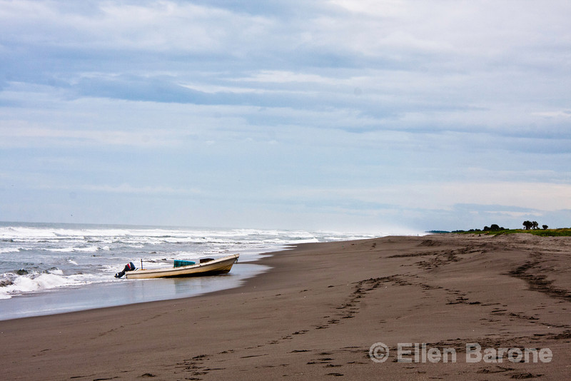 Fishing boat,  Madresal, a community-built eco-friendly beach camp Pacific Coast, Chiapas, Mexico.