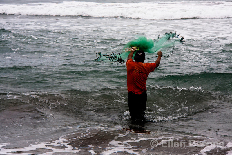Net fishing at Madresal eco beach camp and reserve, Pacific Coast, Chiapas, Mexico.