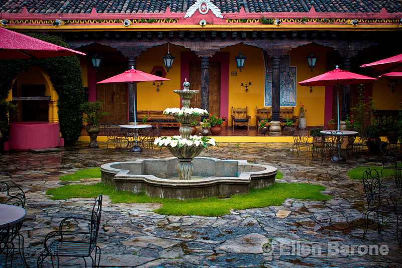 The coloful courtyard at Hotel Diego de Mazariegos, a cozy welcoming retreat situated in the heart of Colonial San Cristobal de las Casas.
