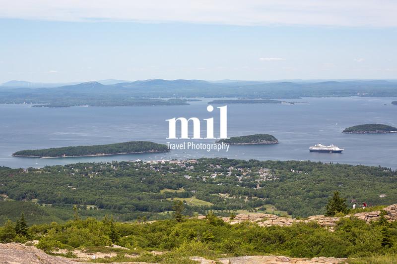 View towards ar Harbor from Cadillac Mountain in Acadia National Park