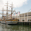 Tall ship docked in Boston MA USA