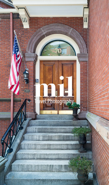 Traditional front door of old house in Boston on Freedom Trail