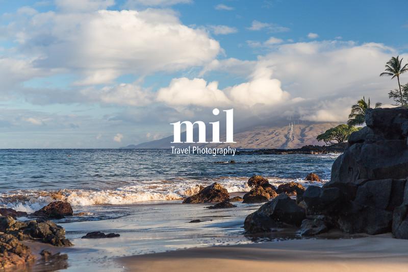 The beach and rocks in Maui Hawaii