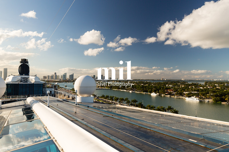 Looking backwards towards Miami as the cruise ship departs along cruise alley