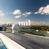 Looking backwards towards Miami as the cruise ship departs along cruise alley