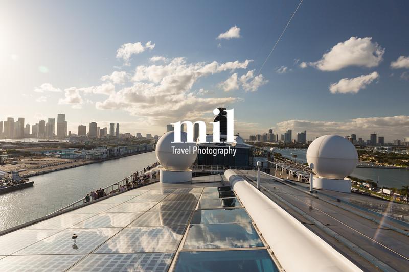 Miami Skyline leaving on a Cruise Ship