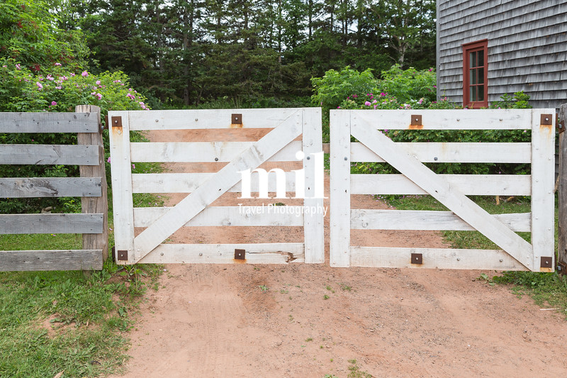 White gates on a farm in the country