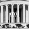 Jefferson Memorial with Thomas Jefferson in view in black and white