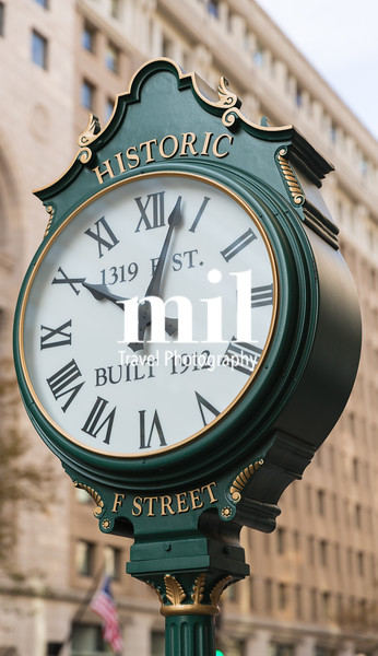 Historic F Street Clock in Washington DC