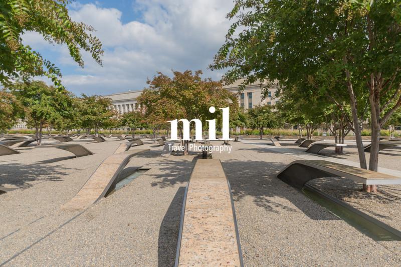 The Pentagon Memorial in Washington DC - no names on display