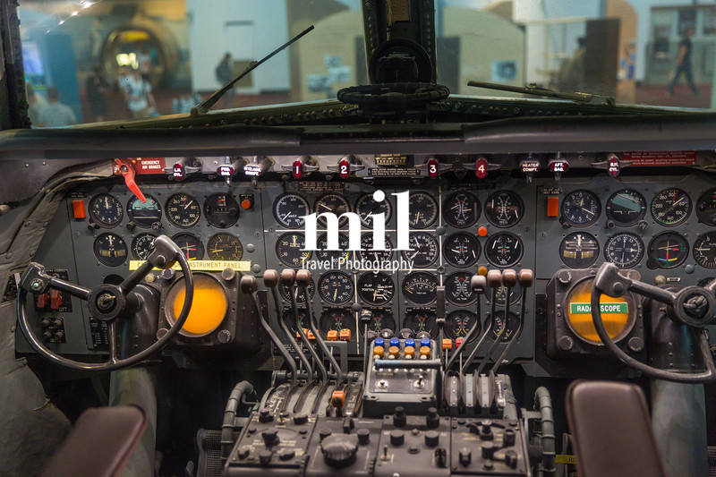 The cockpit of an old plane
