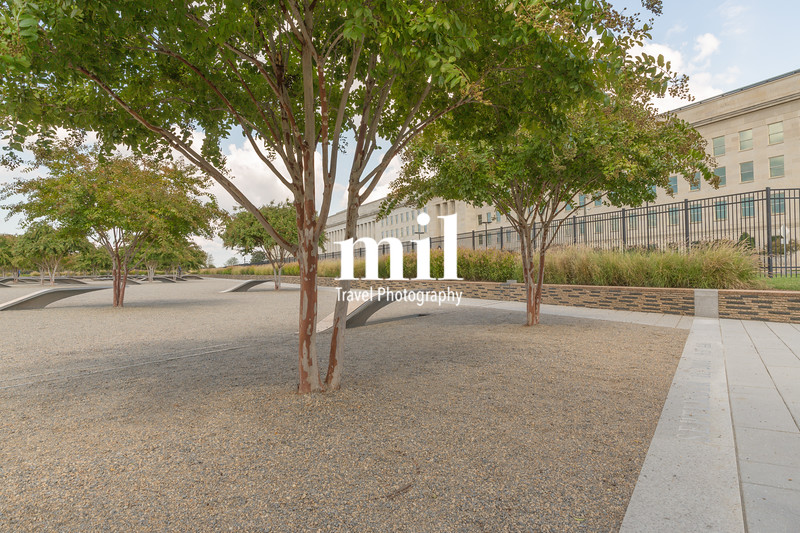 The Pentagon Memorial in Washington DC - no names on display