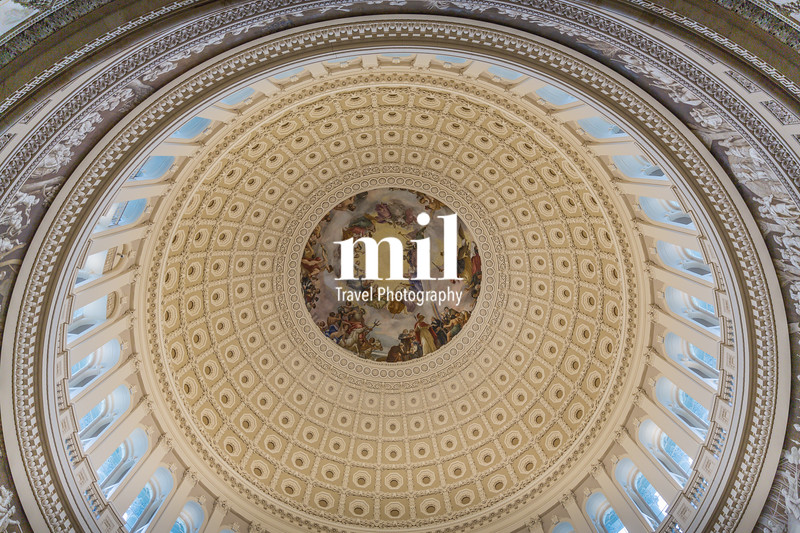 Looking up inside the Dome of the Capitol Building in Washington DC