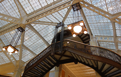 Inside the Rookery, designed by Frank Lloyd Wright