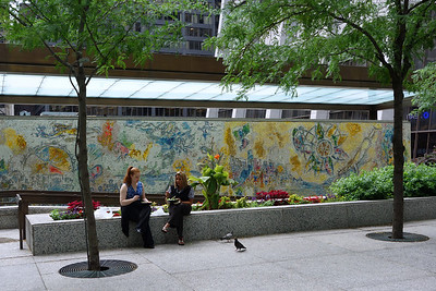 Lunch break next to Chagall's Four Seasons mosaic