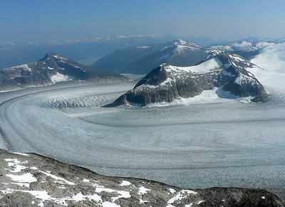 One of several glaciers above Juneau, about 6 miles wide