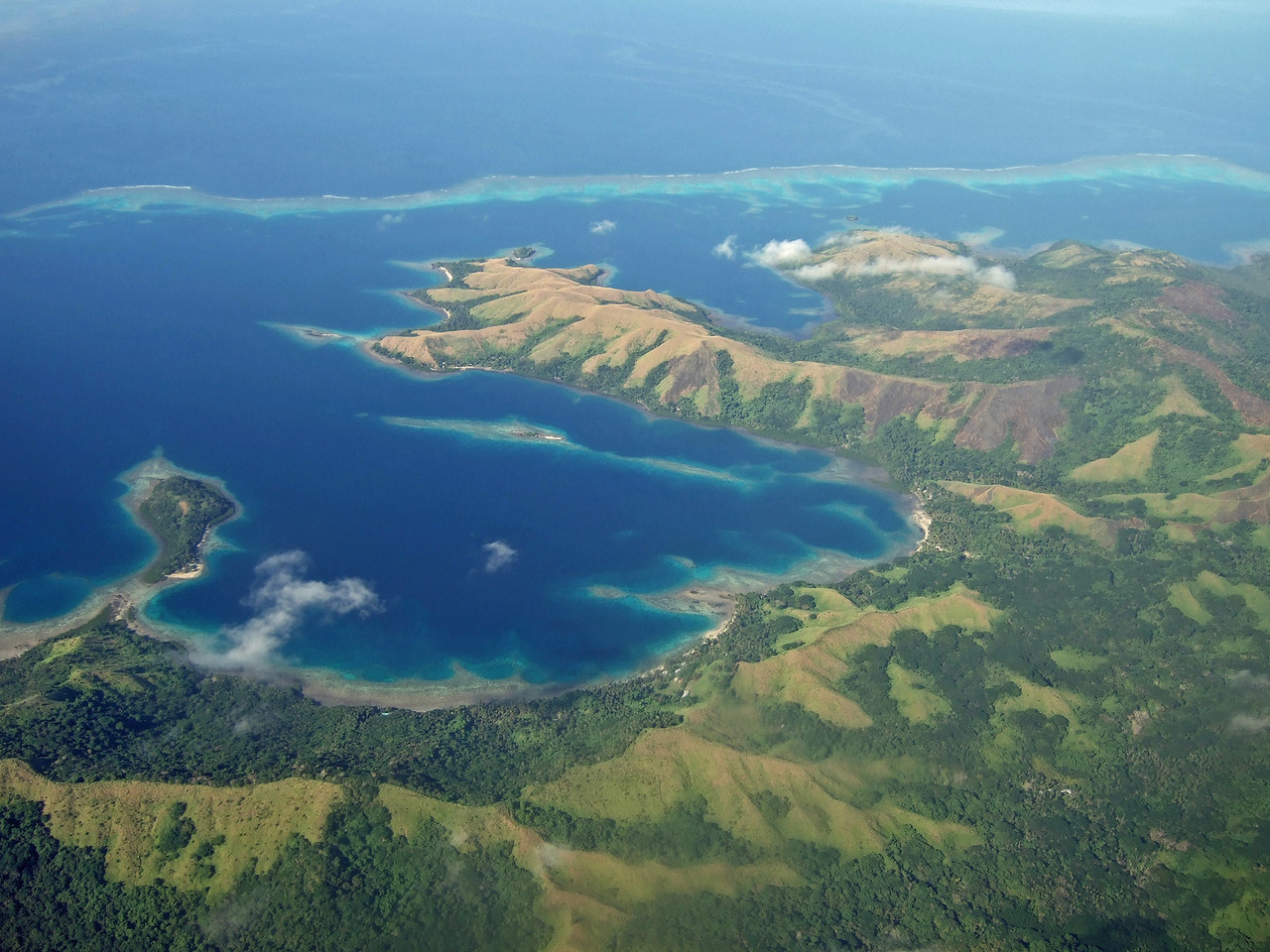 """Flying over one of Fiji's 322 islands on our way to Taveuni, """"the Garden Island"""""""