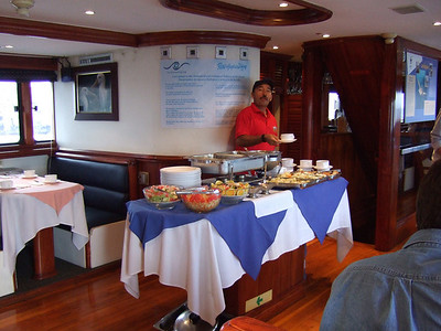 The Sky Dancer crew was terrific, and we enjoyed wonderful meals throughout our 10 days on board, including local Ecuadorian wines at dinner and tasty snacks after every dive