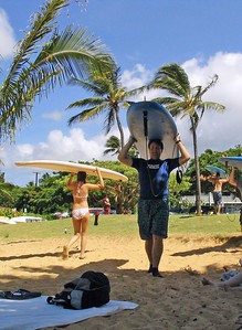 Ray's surf lesson at Poipu Beach