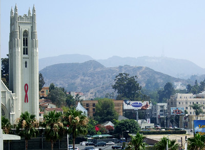 Hollywood United Methodist Church and the famous Hollywood sign, barely visible on the hill through the equally famous L.A. smog