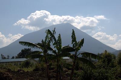 View of one of the Virunga volcanoes as we cross the border into Rwanda