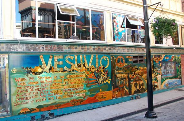 Sidewalk philosophizing in North Beach