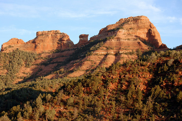 Late afternoon light on the red rocks