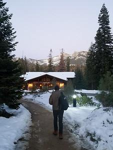 Yep, definitely snow. The fireplace inside Wuksachi Lodge beckons.
