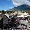 There was a town fiesta in one of the little villages. People are parading and dancing to music in costumes. It was very festive. About 4 of us climbed up the roof of a house to get a good vantage point. At the background is the Cayambe volcano.