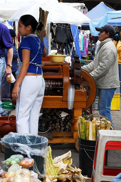 Otavalo Market<br /> <br /> Sugar cane juicer.
