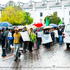 """While we walk the """"Old District"""" of Quito it was raining. A huge demonstration was going on in front a government building."""