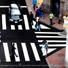 The unusual design pattern of pedestrian crosswalks in the city.