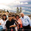 Part of the Friendly Planet group, Kim, Jackie, Beth, Mary and Al. At the background is the Basilica Church of Quito.