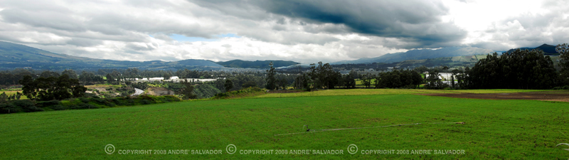 """A panoramic view of the town of Cayambe, Ecuador.<br /> <br /> Cayambe, is a quiet pleasant highland town located 25 km northeast of Guayllabamba. Known by its """"bizcochos"""" (small biscuits with tasty string cheese)."""