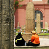 Two Egyptian women relaxing in the outdoor museum.