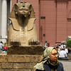 This Egyptian woman sat exactly where I could take her picture with the Sphinx.